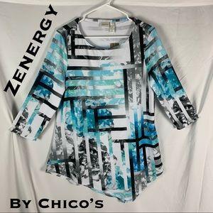 💎NWT💎 Zenergy By Chico's Helena Print Tunic
